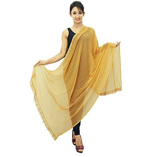 Neck Wrap longue étole en mousseline de soie Dupatta Indian Écharpes Chunni Gift For Her Beige-3