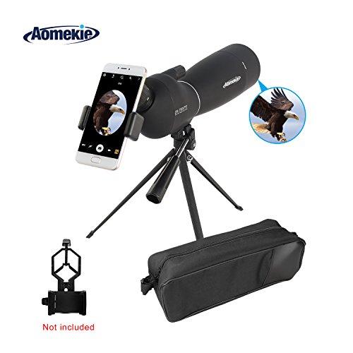Aomekie 25-75X70 Spektiv Sportschützen Jagd mit Stativ und Tasche Wasserdicht 45 Grad abgewinkelt Okular für Vogelbeobachtung Himmelsbeobachtung