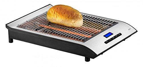 Exido grille-pain Toaster plat pour le pain avec un digital minuteur idéal pour le pain et les baguettes (700 W, grill avec collecteur de miettes, grille en acier inoxydable) argent
