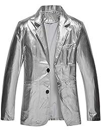 Agoky Herren Jacke Gl/änzend Wetlook Tops Langarmhemd M/änner Metallic Oberteile mit Reisverschluss Party Outfits Clubwear