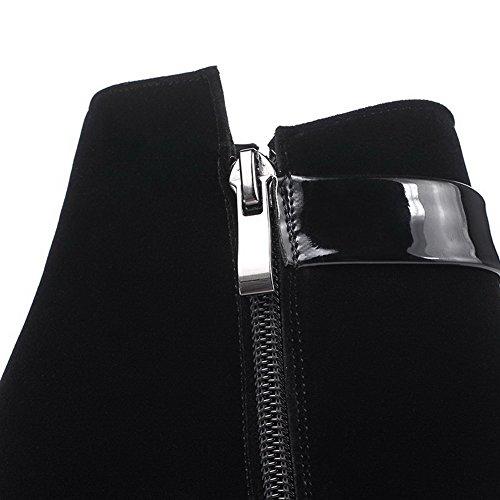 AllhqFashion Damen Mattglasbirne Niedrig-Spitze Reißverschluss Hoher Absatz Stiefel Schwarz