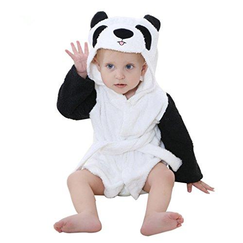 Serviettes de Bain pour Bébé À Capuchon Garçons Filles Peignoir Avec des Animaux Conception 0-24 Mois,Panda Noir