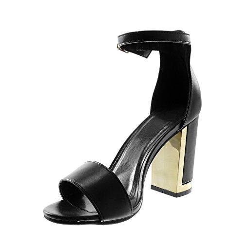 Angkorly Chaussure Mode Sandale Escarpin Lanière Cheville Femme Lanière Doré Talon Haut Bloc 9.5 CM Noir PU