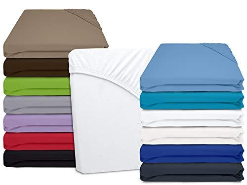 Jersey Spannbetttuch in unseren besten Farben aus 100{2ae1f481bc1a5e36d458e60510419df95ff6f71b109c0498ccd09b4595e1c880} Baumwolle - in 5 Größen erhältlich, 140-160 x 200 cm, weiß
