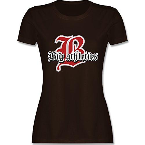 Basketball - Big Athletics - tailliertes Premium T-Shirt mit Rundhalsausschnitt für Damen Braun