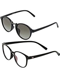 Vast Combo Of 2 UV Protection Full Rim Spectacle Frame And Double SHADED Retro Round Unisex Sunglasses (BLK_SILGREEN)