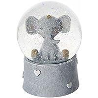 Boîtes à musique boule à neige musicale éléphant idéal pour une baby shower ou un baptême - Cadeau pour bébé garçon ou fille