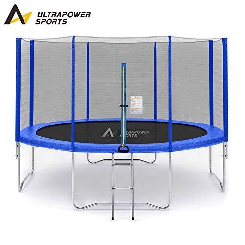 ULTRAPOWER SPORTS Fitness Trampolin/Gartentrampolin 366 cm mit Sicherheitsnetz Innennetz und ideal für Kinder Blau