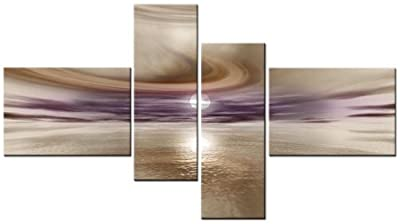 Lynxart 4 PANEL TOTAL Size 138x78cm CANVAS WALL ART ABSTRACT PRINT FAYE 2 Beige/Mauve