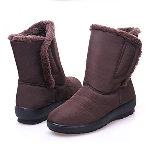 Yiiquan Donna Stivaletti Pelliccia Boots Impermeabile Caldi Scarpa Stivali Da Neve Inverno Marrone