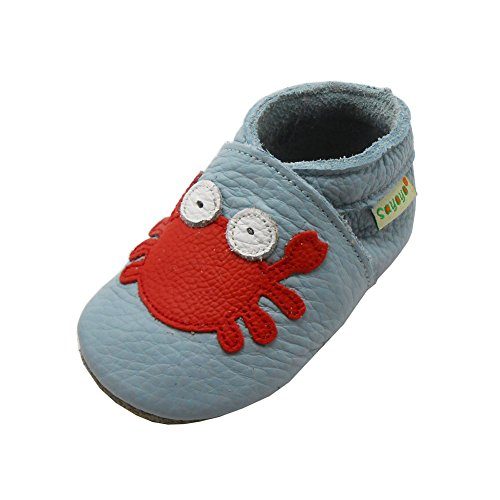 Sayoyo Nette Krabbe WeichesLeder Lauflernschuhe Krabbelschuhe Babyschuhe (Schwarz,24-36 Monate) Blau