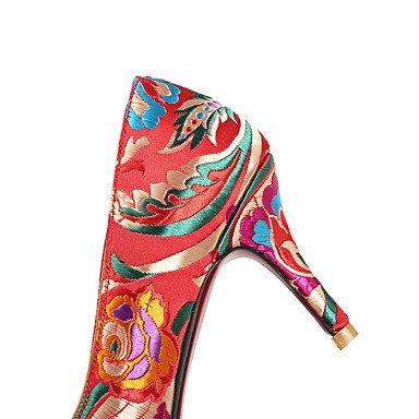 Talloni delle donne Primavera Estate Autunno Scarpe Comfort ricamati in seta da sposa di feste ed abito da sera tacco a spillo Fiore Rosso Walking Red