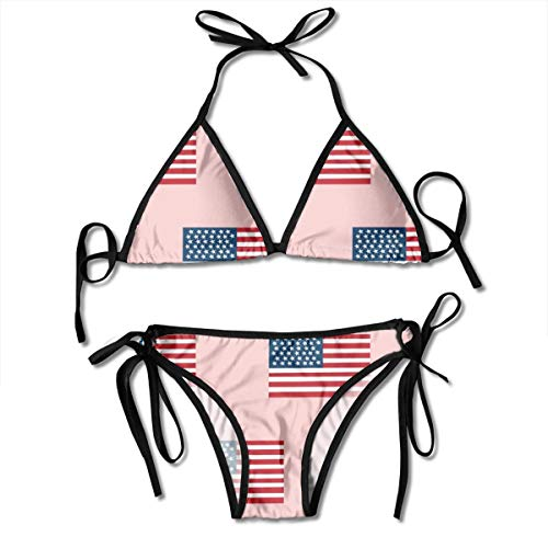 6b71b15ae022 Funny&shirt American Flag Flag USA Merica Design Patriotic July 4th Sexy  Boxing Bikini Women Halterneck Top