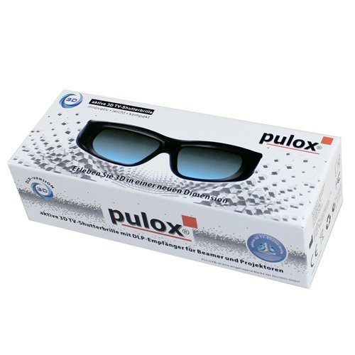 3D Shutterbrille - Universal 3D Active Shutter 3D Brille von PULOX für DLP-Link TVs / Projektoren und Beamer - USB - Akkubetrieb