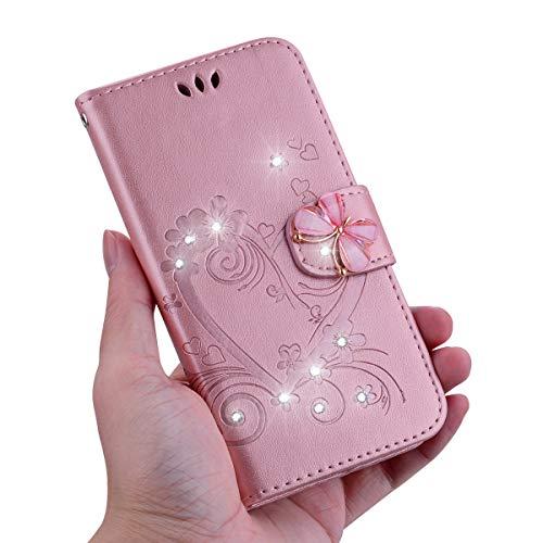KM-Panda Kompatibel für Apple iPhone 5 5S SE Leder Hülle Tasche Herz Schmetterling Diamant Glitzer Rose Gold Schutzhülle Handytasche Handyhülle Lederhülle Flip Case (Iphone 5s Case Gold Diamant)