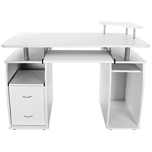 Songmics Computertisch Schreibtisch Bürotisch mit Schubladen und Unterschrank 115 x 85 x 55 cm, weiß, LCD861W