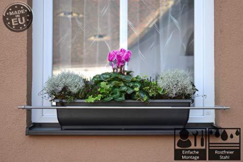 Dastech Blumenkastenhalterung in die Fensterlaibung für Durchmesser 1500 bis 2000 mmm Rostfreies Edelstahl V2A