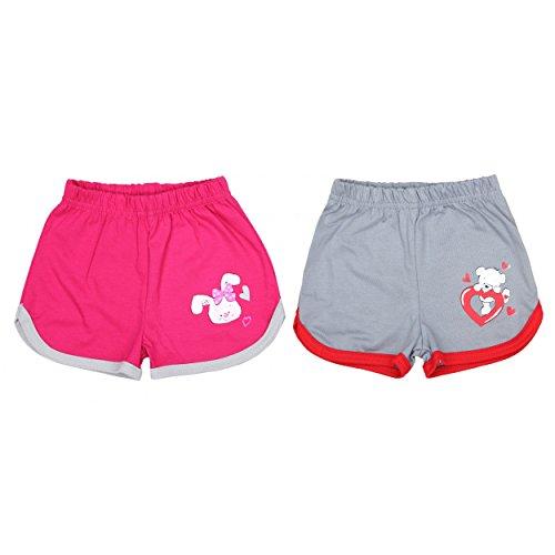TupTam Mädchen Sommer Shorts mit Print 2er Pack, Farbe: Grau / Pink, Größe: 98