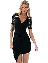LookbookStore Damen Asymmetrisches Minikleid mit V-Ausschnitt Wrap Style
