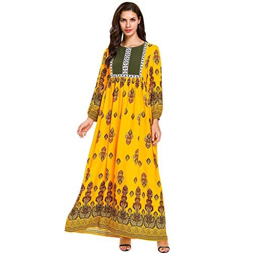 Robe Musulmane,Daysing Femmes Musulmanes Turquie Manches Puff Longue Robe Caftan VêTements Robes Femme Elegante Femmes D'éTé Musulmanes Impression Islamique Multicolore Pocket Moyen-Orient Longue Robe