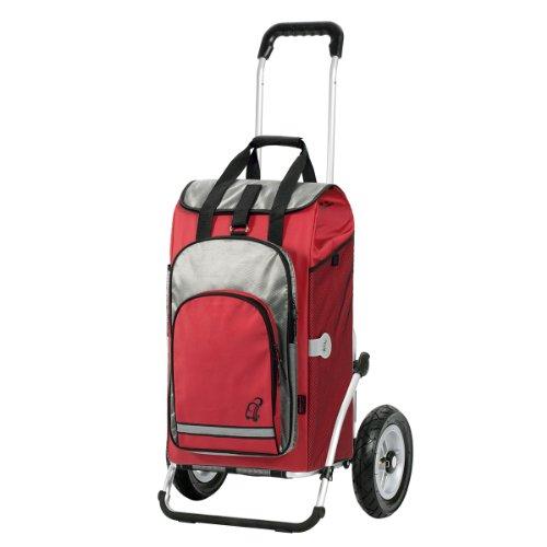 Einkaufstrolley Royal mit großen Rädern luftbereift | Einkaufstasche Hydro rot mit Kühlfach | Trolley mit Aluminium Gestell