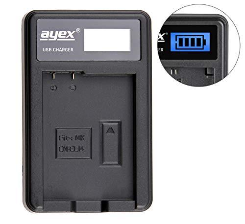 ayex USB-Ladegerät für für Nikon Akku Typ EN-EL14 - Laden über USB Netzstecker, Laptop, Power Bank oder PC - LCD-Display mit Ladestandanzeige Laptop Display-typ