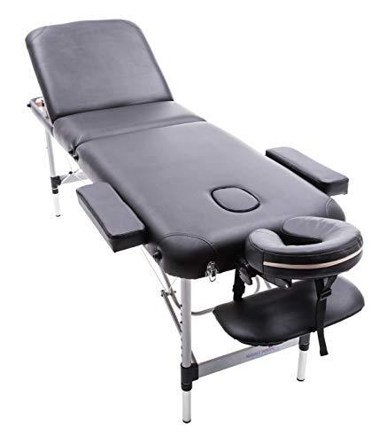 Massage imperial® buckingham lettino professionale da massaggio ultraleggero-12 kg- in alluminio -nero- di massage imperial, pieghevole con materassino in poliuretano di 5cm