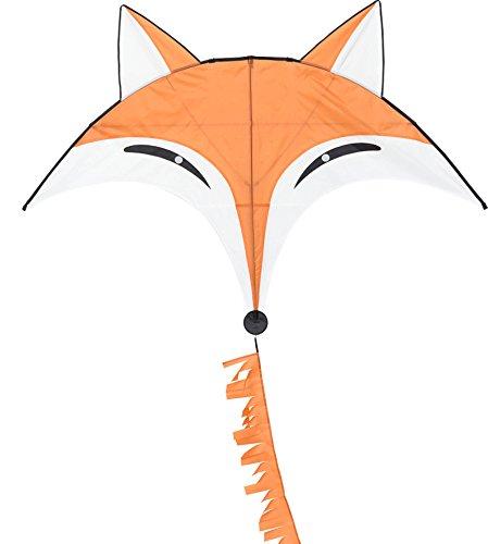 HQ 105100 - Fox Kite Kinderdrachen Einleiner, ab 8 Jahren, 110x145cm und 350cm Drachenschwanz, inkl. 17kp Polyesterschnur 40m auf Spule, 2-4 Beaufort -