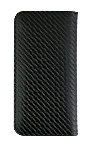 Emartbuy Black Carbon Fibre Finish Premium PU Leather Magnetic Slim Wallet Case Cover Sleeve Holder ( Size LM2 ) Suitable for Smartphones Listed Below