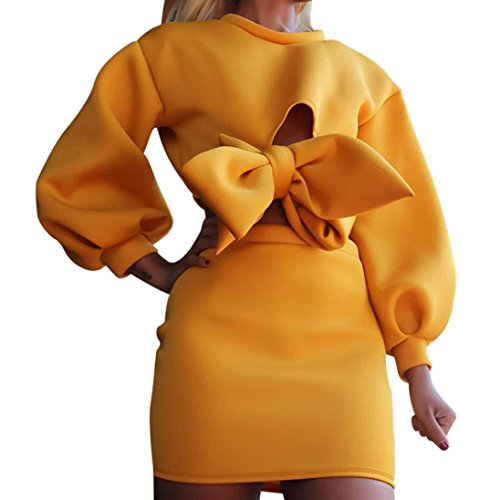 Manadlian Mode Frauen Langarm Bogen Tops Bluse Sweatshirt + unregelmäßigen Rock Set Frühling Herbst Winter Einfarbig Gelbes Set (S--L) (M, Gelb)