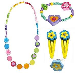 BINO 5 TLG. Set Holzschmuck Mädchenschmuck Kinderschmuck Motiv Regenbogen – Halskette Armband Herz Lila Ring 2 Haarspangen