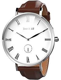 June & Ed Cuarzo Acero Inoxidable Correa Reloj de pulsera para Hombre con la ventana del dial de cristal de zafiro W-0050