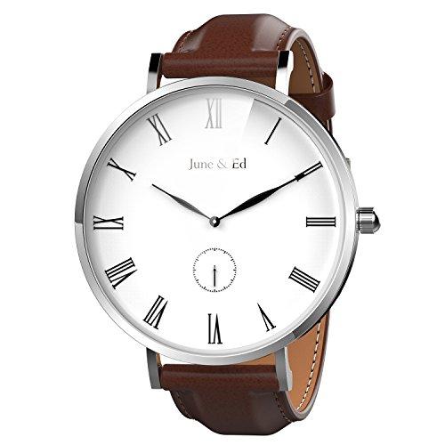 June & Ed Herren-Armbanduhr Uhr Edelstahl Analog Quarz mit Saphir Kristall W-0050