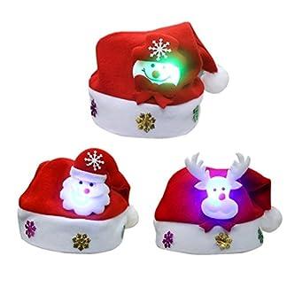 Gorros de Papá Noel con Luz Led OULII 3pcs Gorros de Fiesta Navidad para Niño