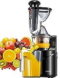 Licuadora Prensado Frío, Aicok Licuadoras Para Verduras y Frutas con Boca Ancha de 75MM, extractor de zumos con Función inversa, Slow Juicer Motor Silencioso, Libre de BPA