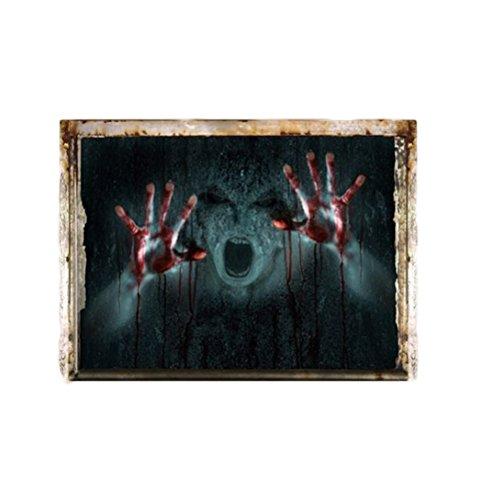 rrible Wandaufkleber Blutige Hände und verdrehte Gesicht Wall Decal Party Supply 60x40cm ()