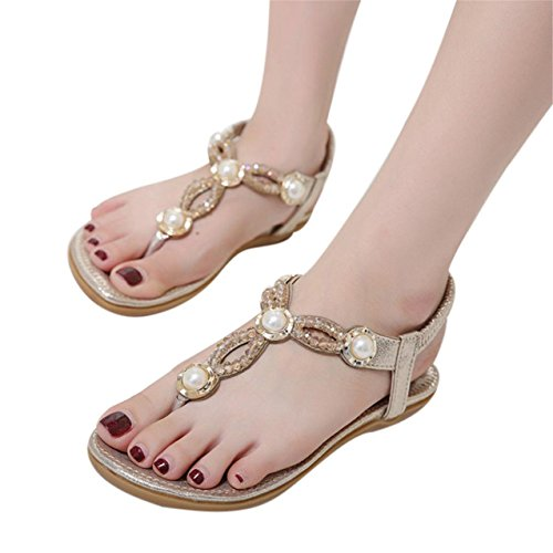 LHWY Damen Bohe Strass Fashion Flat Large Size Casual Sandalen Beach shoes Gold
