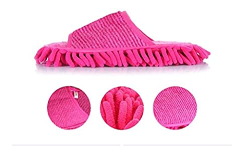 GFYWZ Comfortable Chenille Dusting Mopping Slippers Mens Ms Floor Mop Shoes Cleaning Tool /pack of 3 double , pink