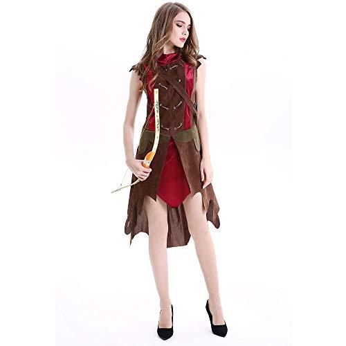 stüm Mädchen, Heroic Knight Kostüm für Erwachsene Forest Peter Pan, Shooterin Kostüm, Halloween Party Kostüm,L ()