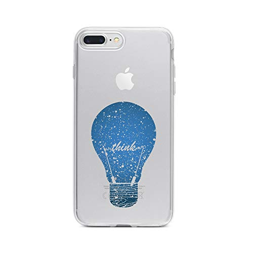 Klar, Bulb Cover (licaso iPhone 7 Plus IP7+ Handyhülle TPU mit Think Bulb Print Motiv - Transparent Cover Schutz Hülle Aufdruck Lustig Funny Druck)