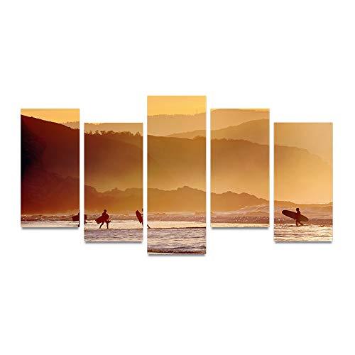 HQATPR 5D Diamant Gemälde Zubehoer Stifte Öl Tinte Leinwand drucken Bild Morgen am Strand in der Nähe von Mountainpainting auf Leinwand Wand Kunst Bild Home Decor - Strand Leinwand Drucken