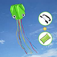 Joy-Jam Toys for 4-10 Year Old Boys Girls Huge Octopus Kite for Children and Adults Outdoor Games Summer Toys Colorful Kites Presents for Kids Gifts Beach Kite with String - Green