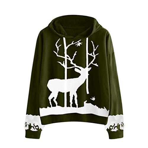 MIRRAY Damen Weihnachten Kapuzenpullover Pullover Xmas Langarmshirts Hoodie Weihnachten Monochrome Rentier Bedruckte Drawstring Tops Bluse