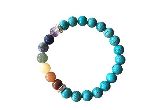 """""""saggezza e forza"""", braccialetto chakra con perle in vero turchese, bracciale buddha in pietre naturali, realizzati a mano eticamente in india occidentale, in confezione regalo, colore: turquoise chakra, cod. natural-chakra-bracelet"""