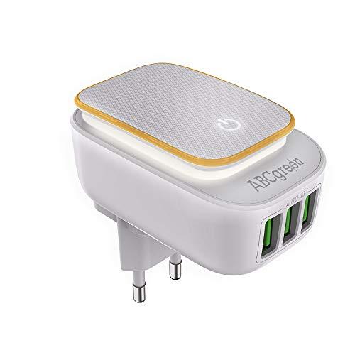 ABC GREEN Chargeur USB Compatible, Adaptateur Prise USB Secteur équipé de 3 Ports, Lampe veilleuse Enfant LED avec Prise Electrique Tactile, éclairage de Nuit, Chargeur Rapide Mural Universel