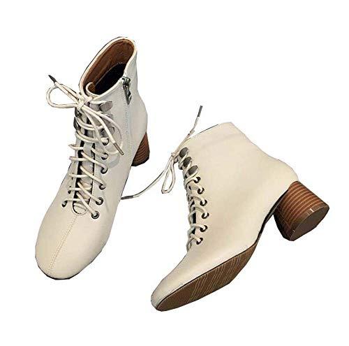 5Cm Botte Talons De Bottine Chaussure De Crosse Chaussures Martin Boot Femmes De Mode Ronde Orteil Shoeslace Zipper Rivets OL Court Shoes UE Taille 34-40,Beige,36EU