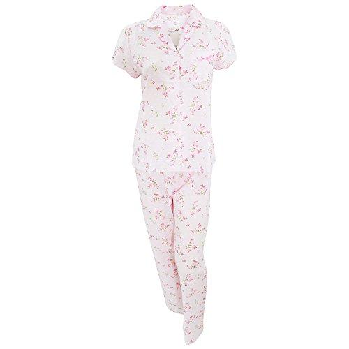Ensemble de pyjama à motif floral 100% coton - Femme Blanc