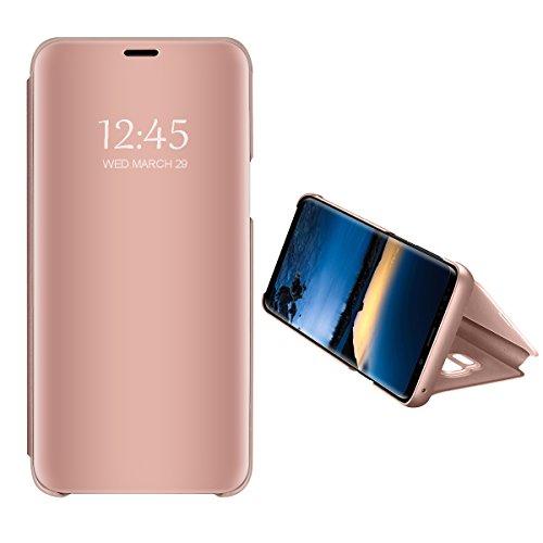 Apple iPhone X Spiegel Schutzhülle Flip Handy Case Tasche mit Standfunktion Business Serie Hart Case Cover für iPhone X/iPhone 10 / iPhone Ten (Rosé Gold, Apple iPhone X)