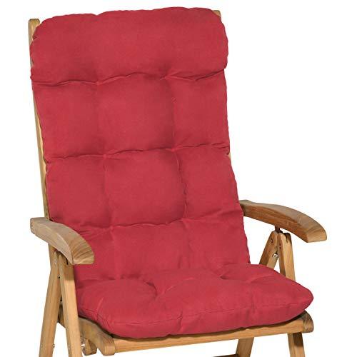Beautissu Hochlehner Auflage Flair HL 120x50x8cm Sitzkissen Rückenkissen Sitzpolster Schaumflockenfüllung Rot & weitere Farben