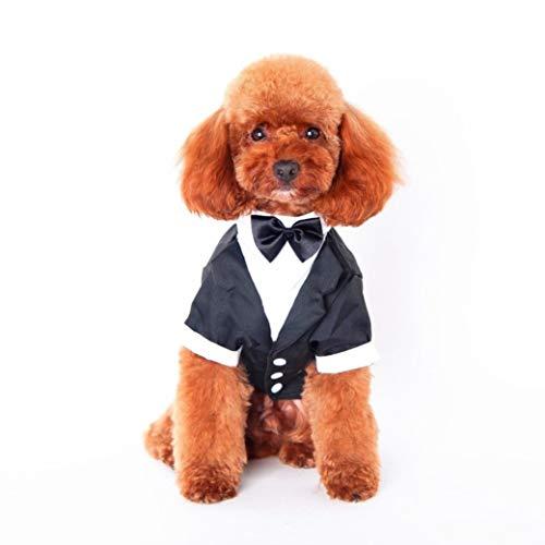 AMURAO Hundeshirt Haustiere Kleidung Herren Brautkleider Teddy Dog Vest mit Bow-Knot Dog Short Sleeve -